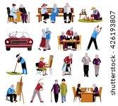Elderly People Icons Set....