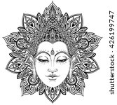 buddha face over ornate mandala ... | Shutterstock .eps vector #426199747