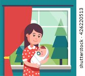 mother holding swaddled baby... | Shutterstock .eps vector #426220513