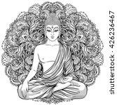 sitting buddha over ornate... | Shutterstock .eps vector #426236467