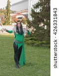 Small photo of BRNO, CZECH REPUBLIC - APRIL 30, 2016: Cosplayer dressed as the character Lady Loki from The Avengers poses at Animefest, anime and manga convention on April 30, 2016 Brno in the Czech Republic