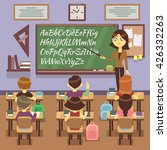 school lesson in classroom with ... | Shutterstock .eps vector #426332263