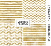 Set of seamless pattern of gold glitter stripes, zigzag chevron, wavy stripe, seamless texture golden lines, wave, zig zag stripe, hand drawn vector pattern for paper, card, invitation, wedding, web | Shutterstock vector #426395677
