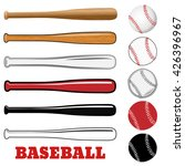 baseball and baseball bat... | Shutterstock .eps vector #426396967