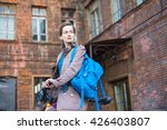 young stylish woman and bike in ... | Shutterstock . vector #426403807