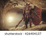 powerful knight in heavy armor... | Shutterstock . vector #426404137