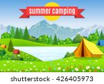 tourist tent and green blossom... | Shutterstock .eps vector #426405973