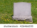 Blank Headstone In Cemetery