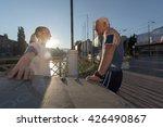 jogging couple check music... | Shutterstock . vector #426490867