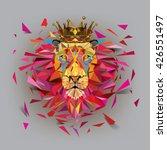Geometric Lion Low Polygonal