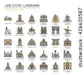landmark   thin line and pixel... | Shutterstock .eps vector #426620587