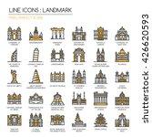 landmark   thin line and pixel... | Shutterstock .eps vector #426620593