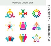 people logo set. group of two ... | Shutterstock .eps vector #426687643