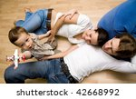 portrait young family with... | Shutterstock . vector #42668992