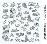 fruit and veggies doodle set | Shutterstock .eps vector #426701563