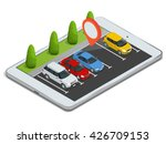 parking lot displayed on laptop.... | Shutterstock .eps vector #426709153