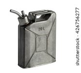 Small photo of Pewter flask in the shape of the canister isolated on a white background