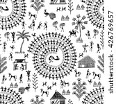 Warli Painting Seamless Patter...