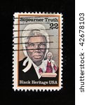 "Small photo of USA - CIRCA 1986: A stamp printed in USA shows Sojourner Truth, circa 1992. ""Great people of United States"": a series of 15 stamps"
