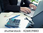 business woman typing on a... | Shutterstock . vector #426819883