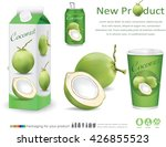 packaging with green coconut... | Shutterstock .eps vector #426855523