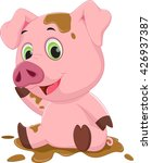 cartoon pig play in mud  | Shutterstock . vector #426937387
