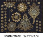 mandala set and elephant head... | Shutterstock .eps vector #426940573