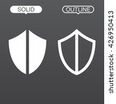 shield line icon  outline and...