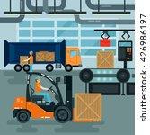 forklift inside factory. cargo... | Shutterstock .eps vector #426986197