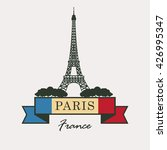 banner with paris  eiffel tower ... | Shutterstock .eps vector #426995347