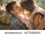 young lady  passionately kisses ... | Shutterstock . vector #427028593