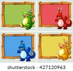 wooden frame with dragons... | Shutterstock .eps vector #427120963