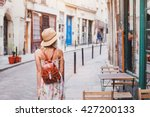 woman tourist walking on the... | Shutterstock . vector #427200133