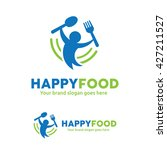 happy food logo  people with... | Shutterstock .eps vector #427211527