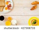 breakfast on a white wooden... | Shutterstock . vector #427308733