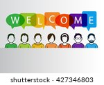 colorful welcome background... | Shutterstock .eps vector #427346803