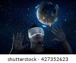 man wearing futuristic virtual... | Shutterstock . vector #427352623