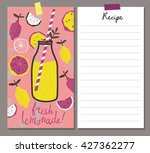 fresh lemonade. recipe card.... | Shutterstock .eps vector #427362277