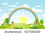 rural scene with rainbow and... | Shutterstock .eps vector #427364203