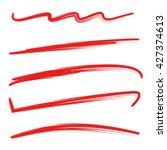 red brush stroke set  underline | Shutterstock .eps vector #427374613