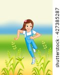 girl running in the park on... | Shutterstock .eps vector #427385287