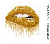 abstract gold lips. open mouth... | Shutterstock .eps vector #427391923