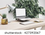 3d render of workspace mockup | Shutterstock . vector #427392067