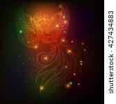 Fire Bird With Stars Vector...