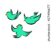tree birds are flying | Shutterstock .eps vector #427496677