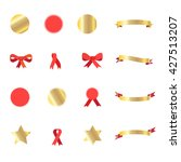ribbon  red ribbon tie  gold... | Shutterstock .eps vector #427513207