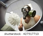 man cleaning the toilet bowl | Shutterstock . vector #427517713