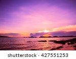 twilight golden sunset beach... | Shutterstock . vector #427551253