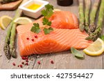 Raw Salmon Fillet With Asparagus