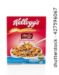 Small photo of BANGKOK, THAILAND - MAY 27, 2016 : Cereal box brand kelloggs isolated on white background